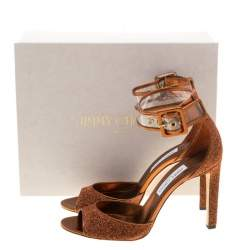 Jimmy Choo Metallic Pop Orange Lurex and PVC Moscow Ankle Strap Sandals Size 41