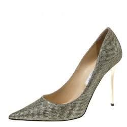 Jimmy Choo Metallic Lamè Glitter Abel Pointed Toe Pumps Size 41.5