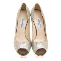 Jimmy Choo Metallic Champagne Glitter Fabric Dahlia Platform Peep Toe Pumps Size 40.5