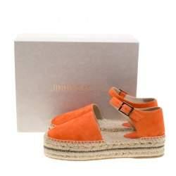 Jimmy Choo Pop Orange Suede Delphine Ankle Strap Espadrille Platform Sandals Size 40
