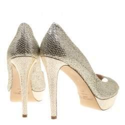 Jimmy Choo Metallic Champagne Glitter Fabric Dahlia Peep Toe Platform Pumps Size 41.5