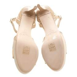 Jimmy Choo Beige Lace Kayden Ankle Strap Platform Sandals Size 40