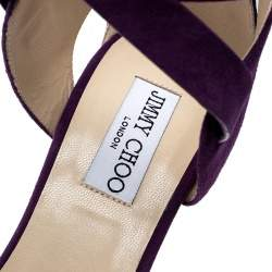 Jimmy Choo Purple Suede Naomi Cross Strap Bow Detail Wedge Sandals Size 41