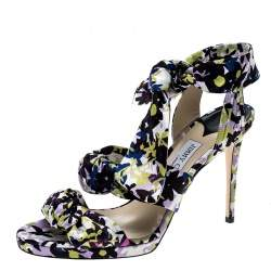 Jimmy Choo Multicolor Floral Print Satin Kris Knot Sandals Size 40