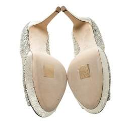 Jimmy Choo Metallic Champagne Lamè Glitter Fabric Dahlia Platform Peep Toe Pumps Size 41