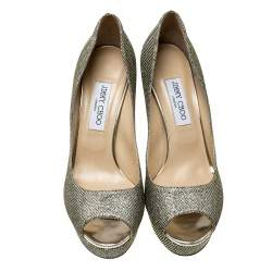 Jimmy Choo Metallic Gold Lamè Glitter Fabric Dahlia Platform Peep Toe Pumps Size 40
