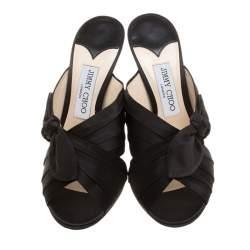 Jimmy Choo Black Satin Keely Knotted Bow Peep Toe Slides Size 40