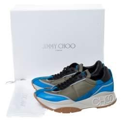 Jimmy Choo Green/Blue Leather And Neoprene Fabric Raine Sneakers Size 39