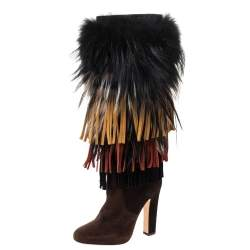 Jimmy Choo Brown Suede And Fox Fur Trimmed Dalia Knee High Boots Size 38.5