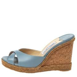 Jimmy Choo Blue Leather Almer 105 Cork And Espadrille Wedges Size 39