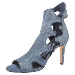 Jimmy Choo Blue Denim Fabric Elasticized Cutout Sandals Size 36