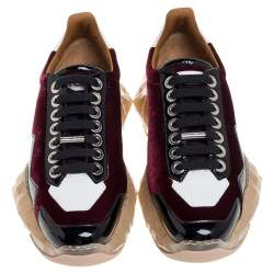 Jimmy Choo Tri Color Lizard Effect Velvet and Patent Leather Diamond/F Sneakers Size 36