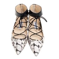 Jimmy Choo Beige/Black Python and Leather Ankle Cuff Ballet Flats Size 39