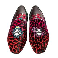 Jimmy Choo Multicolor Leopard Print Pony Hair Loafer Flats Size 39