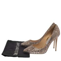 Jimmy Choo Gold Coarse Glitter Aza Pumps Size 40