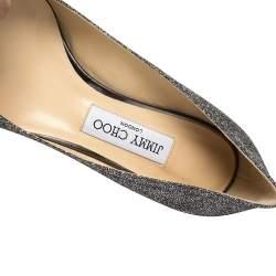 حذاء كعب عالي جيمي تشو رومي 40 انثراسيت مقدمة مدببة غليتر رصاصي مقاس 38