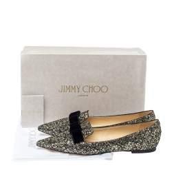 حذاء فلات باليه جيمي تشو غالا جلد غليتر ميتالك بفيونكة مقاس 39