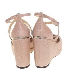 Jimmy Choo Pink Glitter Penny Wedge Sandals Size 36.5
