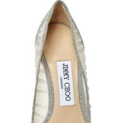 Jimmy Choo Silver Glitter Fabric and White Tulle Love Pointed Toe Pumps Size 36