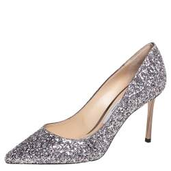Jimmy Choo Purple Glitter Romy Pumps Size 37
