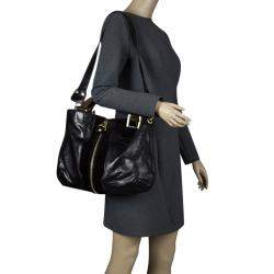 Jimmy Choo Black Leather and Suede Expandable Maia Top Handle bag