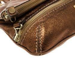 Jimmy Choo Bronze Leather Mave Foldover Clutch