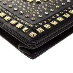 Jimmy Choo Black Leather Studded Clutch