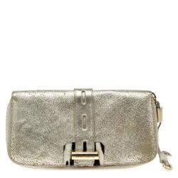 Jimmy Choo Gold Leather Zip Around Wallet