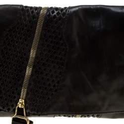 Jimmy Choo Black Perforated Leather Martha Clutch