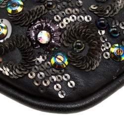 Jimmy Choo Black Leather Sequin Embellished Crossbody Bag