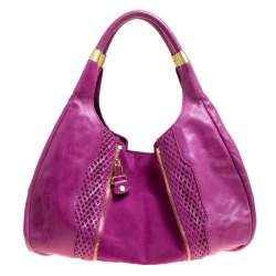 Jimmy Choo Hot Pink Perforated Leather  and Suede Mandah Hobo