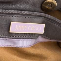 Jimmy Choo Grey/Black Leather and Python Trim Tatum Fringe Hobo