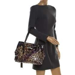 Jimmy Choo Multicolor Printed Glazed Canvas Scarlet Tote