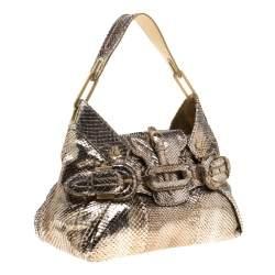 Jimmy Choo Metallic Gold Python Leather Tulita Hobo
