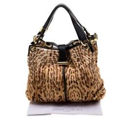 Jimmy Choo Brown Leopard Calfhair and Leather Tote