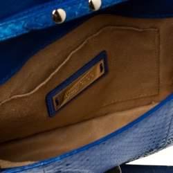 Jimmy Choo Blue Snakeskin Rebel Crossbody Bag