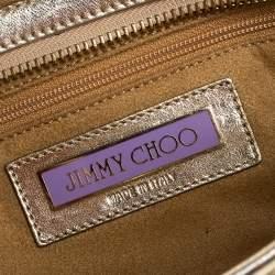 حقيبة كلتش جيمي تشو توليتا حمالة معصم جلد ذهبي ميتاليك