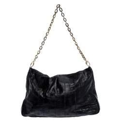 Jimmy Choo Black Leather Flap Shoulder Bag
