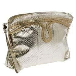 Jimmy Choo Metallic Gold Leather Wristlet