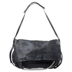 Jimmy Choo Black Python Boho Biker Chain Shoulder Bag