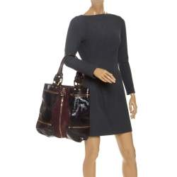 Jimmy Choo Burgundy Patent Leather and Suede Mona Tote
