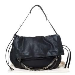 Jimmy Choo Black Leather Large Biker Chain Sholder Bag