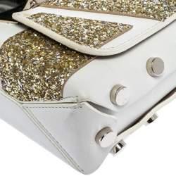 Jimmy Choo White/Gold Leather and Glitters Lockett City Shoulder Bag