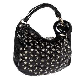 Jimmy Choo Black Patent Leather Star Studded Sky Hobo