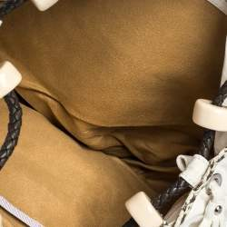 Jimmy Choo White Embellished Bird Leather and Python Trim Beaded Drawstring Hobo