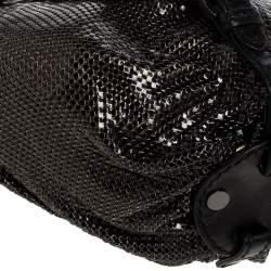 Jimmy Choo Black Leather and Chainmail Tulita Hobo
