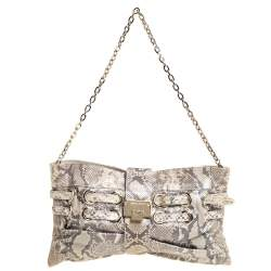 Jimmy Choo Beige Metallic Python Rio Chain Bag