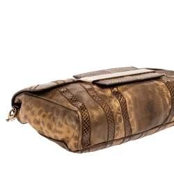 Jimmy Choo Golden Brown Karung Snake Carolina Flap Chain Bag