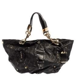 Jimmy Choo Black Leather Lohla Jane Tote