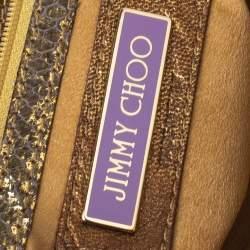 Jimmy Choo Gold Python Chain Frame Clutch